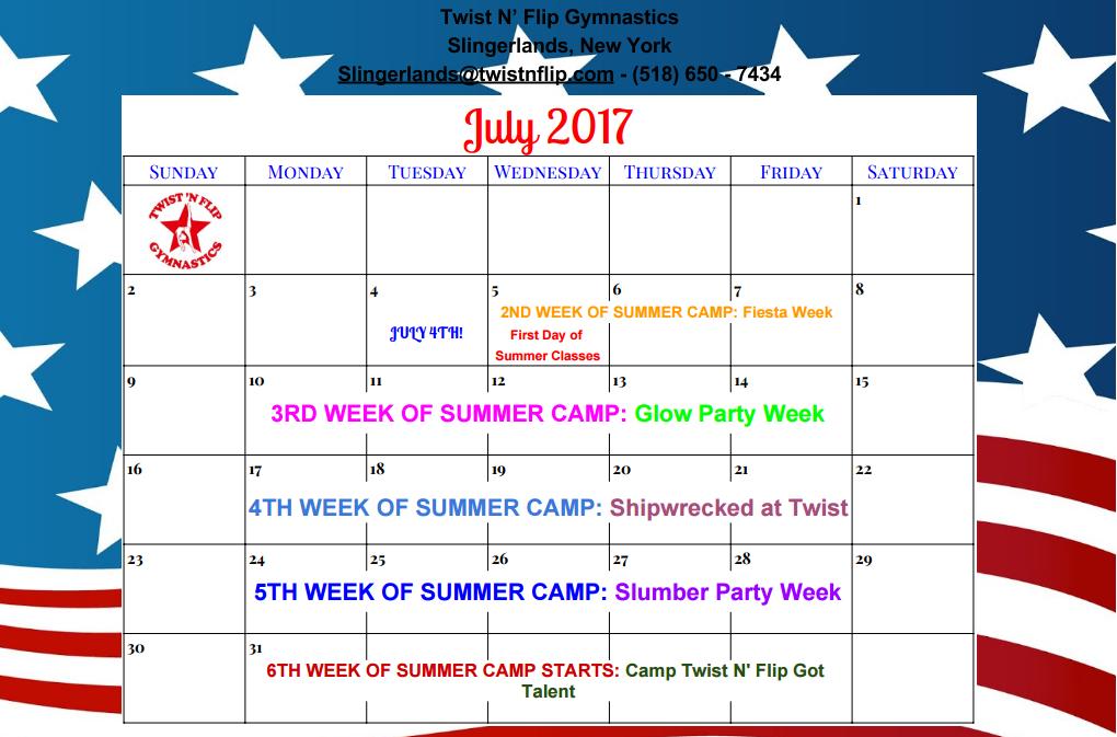 JULY CALENDAR slingerlands gymnastics