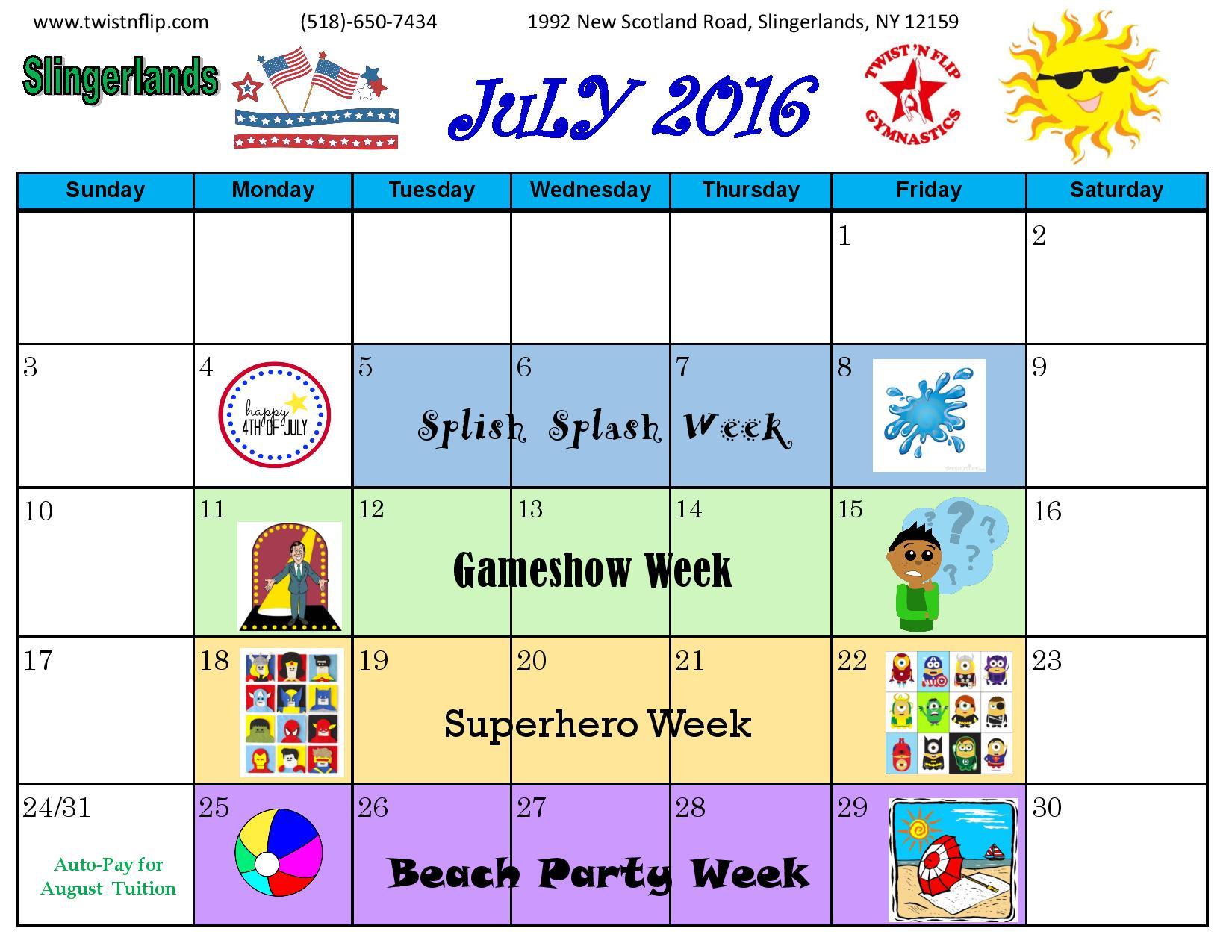 Slingerlands Gymnastics Calendar