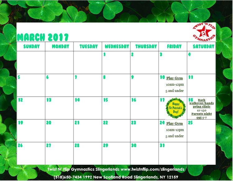 Albany NY Slingerlands Gymnastics Calendar