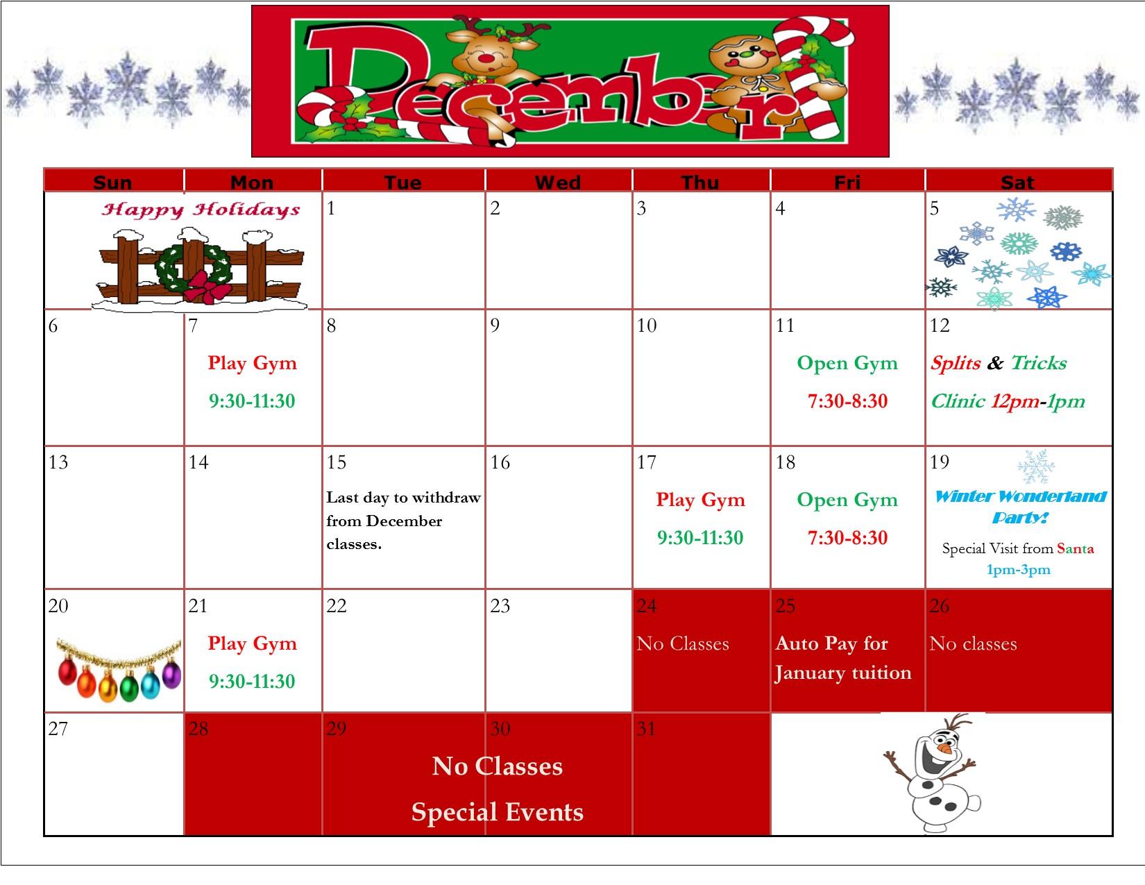 Schenectady Rotterdam Gymnastics December 2015 Calendar