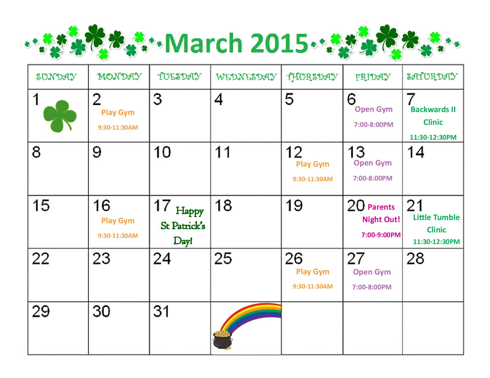 March 2015 Rotterdam Gymnastics Calendar