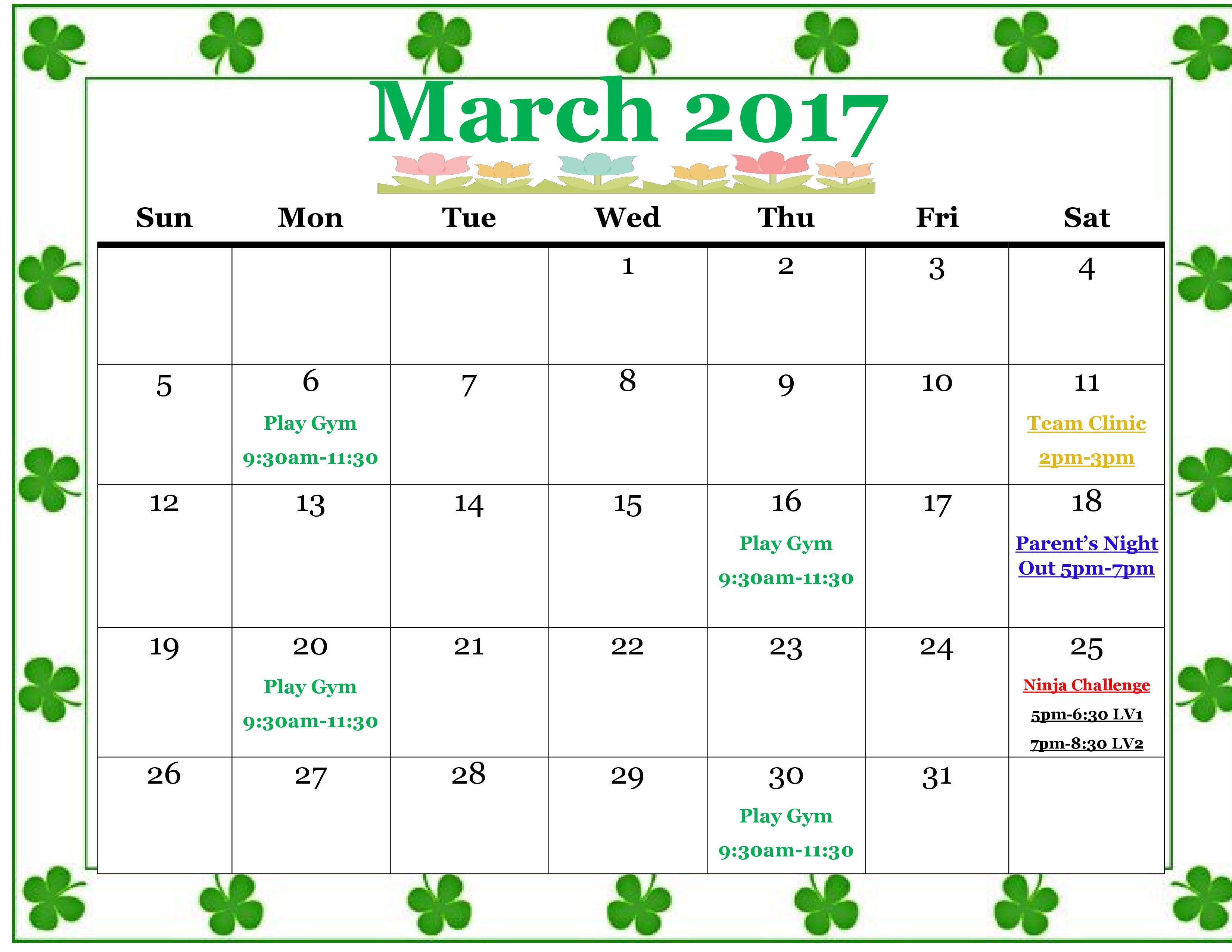 March 2017 Rotterdam Schenectady Calendar