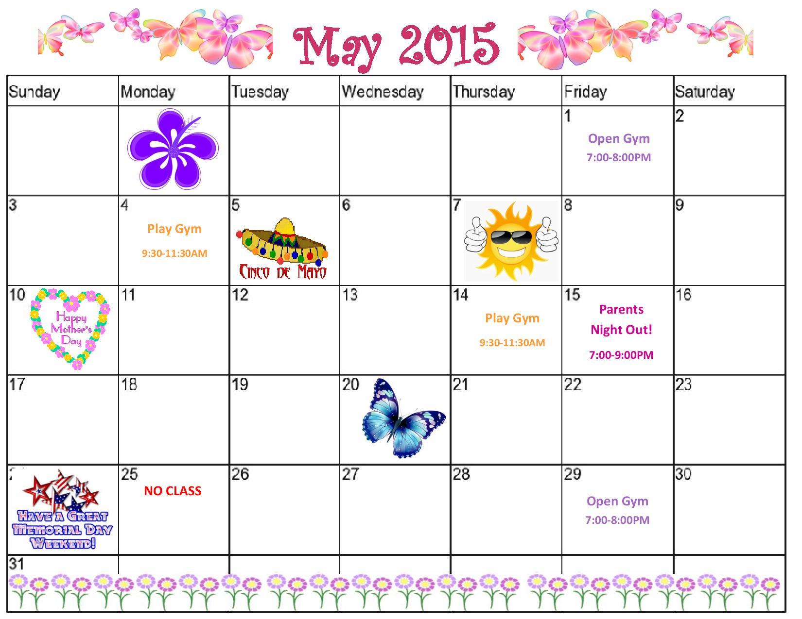 Gymnastics Rotterdam NY May 2015 Calendar