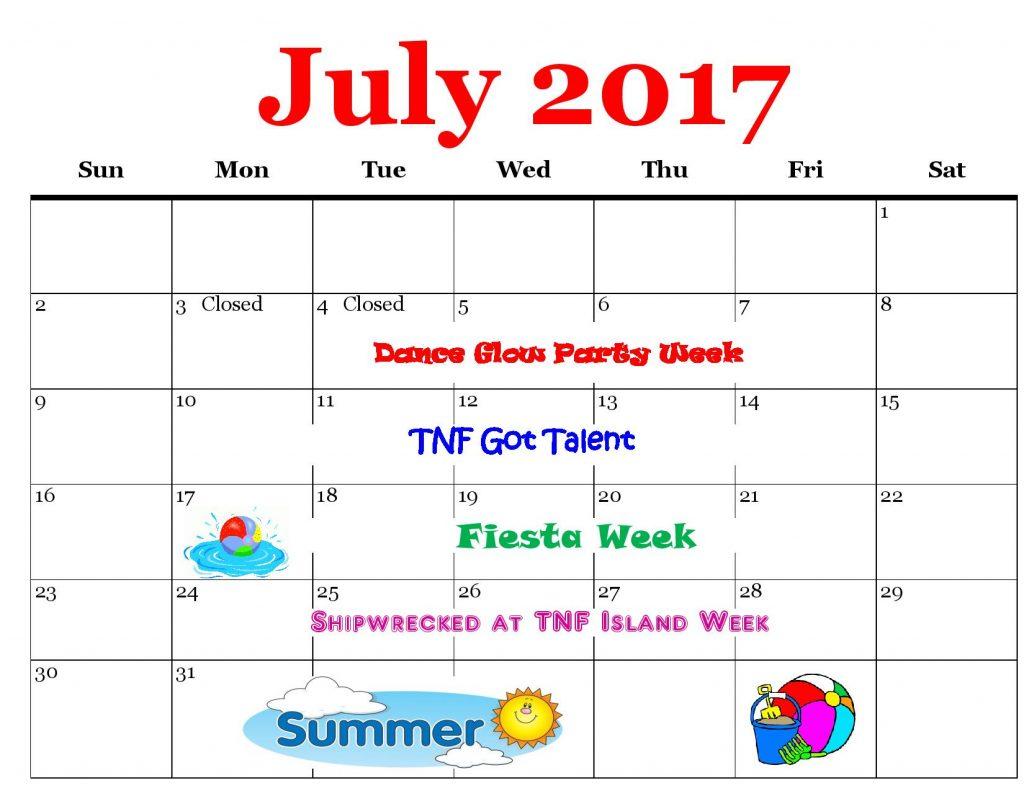 Rotterdam Schenectady July 2017 Gymnastics Calendar