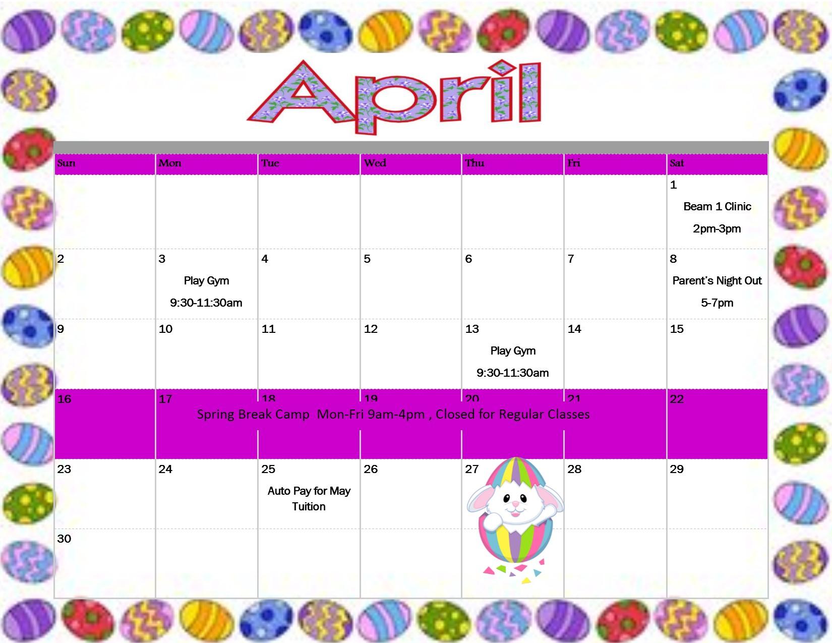Rotterdam Schenectady NY April 2017 Calendar Gymnastics