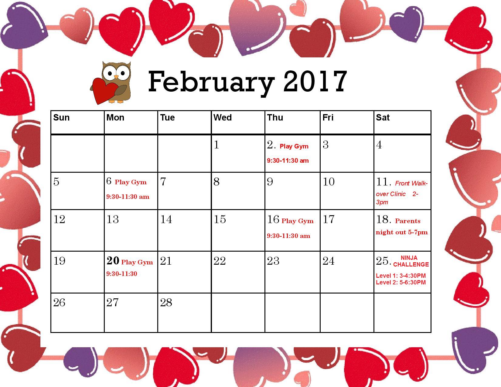 Rotterdam February 2017 Calendar