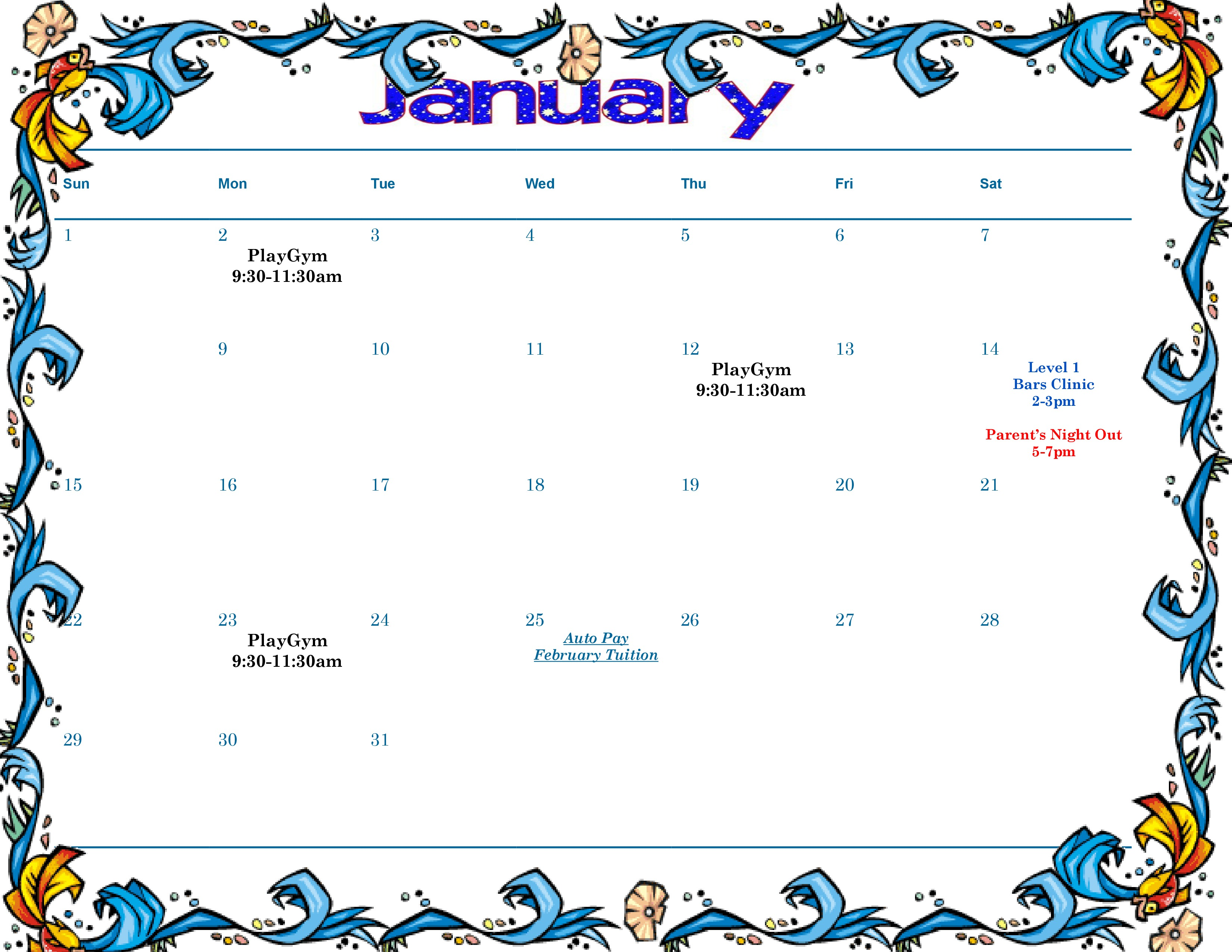 Rotterdam Schenectady NY Gymnastics Schedule January 2017