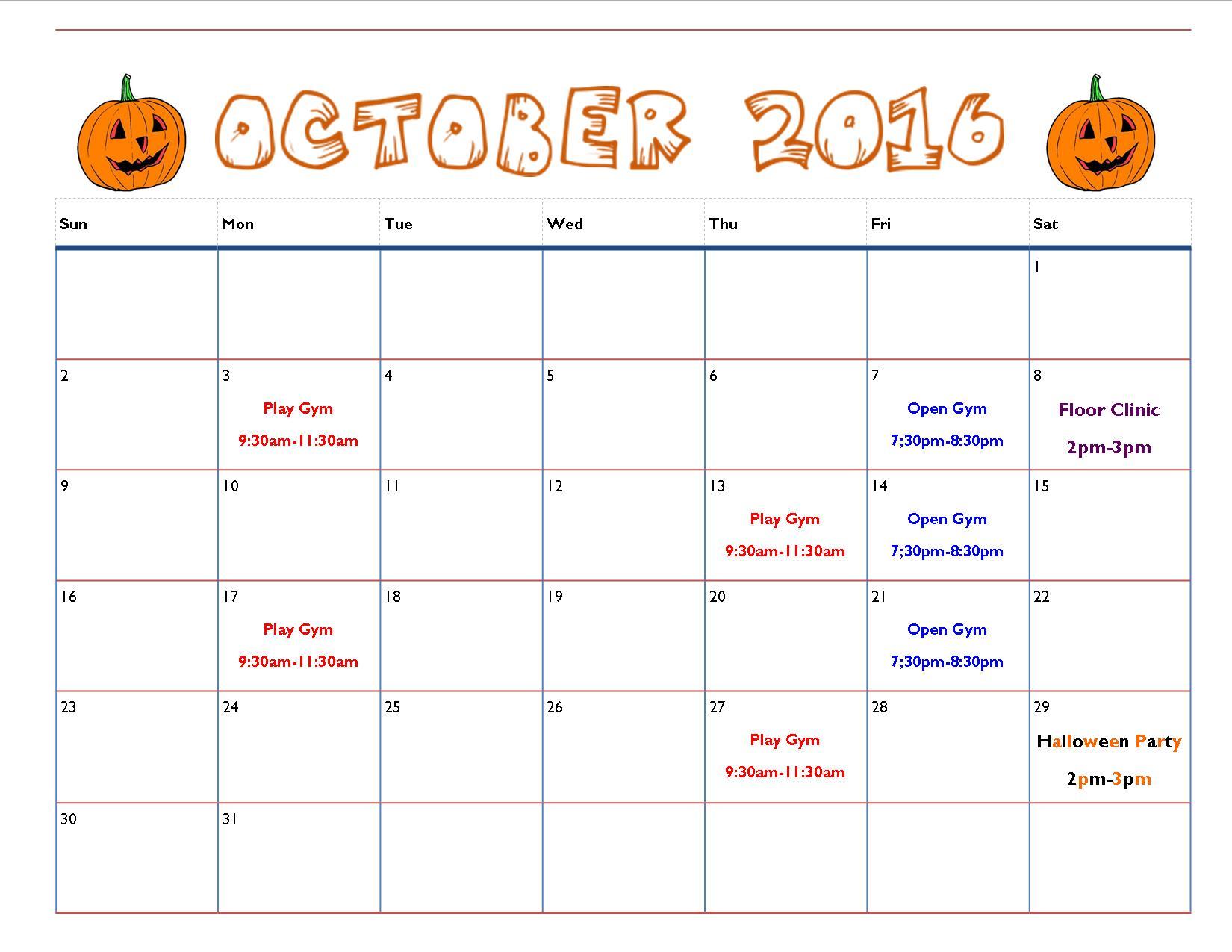 Schenectady Rotterdam 2016 October Gymnastics Calendar